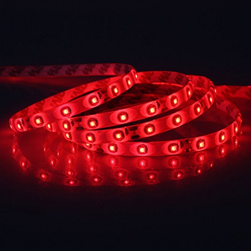 NEWSTYLE 5M 16.4 Feet 3528 IP65 RED 300LEDs LED Strip Light, Waterproof LED Flexible Light Strip 12V with 300 SMD LED with Free DC Connector