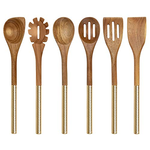 (Country Kitchen 6 Piece Utensil Set - Acacia Wooden Heads with Gold Stainless Steel Handles for Serving and Cooking)