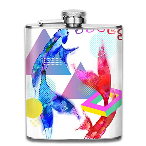 Xiaolongxia I'm A Pisces Zodiac Sign Graphic Portable 7 Oz Stainless Steel Leakproof Flasks, Mini Flagon, Leather Packaging Jug Flagon for Men Women Gift