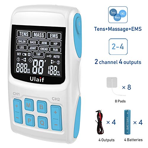 - TENS Unit+EMS Muscle Stimulator+ Pulse Massager Combination, 2018 New FDA Approved, 36 Modes for Pain Relief & Muscle Strength, 2-4 Channels Output,8 Long Life Pads