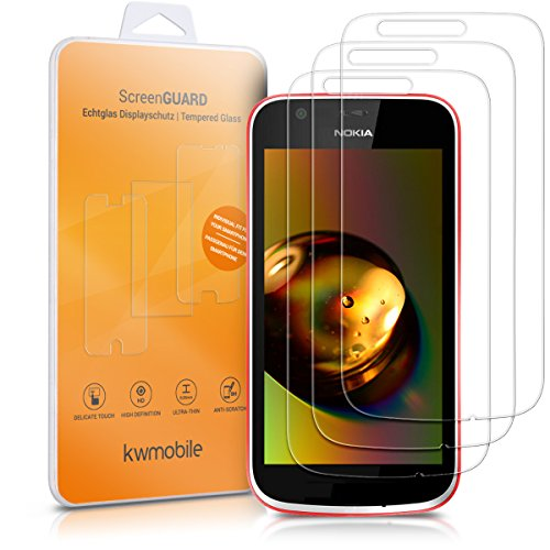 - kwmobile 2X Tempered Glass Screen Protector - Crystal Clear Anti-Fingerprint Protective Display Film for Nokia 1-2 Pack