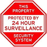 Security Warning Yard Sign. Oversized 10x10 Extremely strong, made with commercial aluminum. Never rusts. Keep out intruders. 24 hour surveillance. Pre-drilled holes allow for placement anywhere