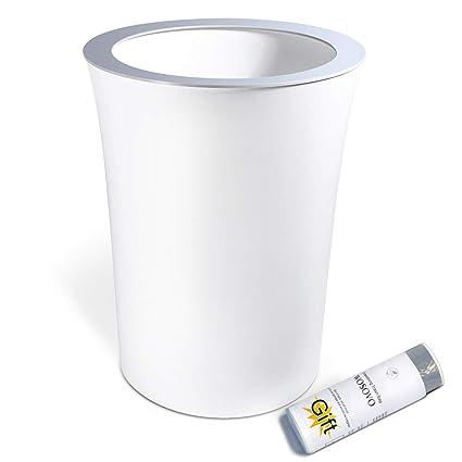 Superior Small Trash Can White 10L/2.6 Gallon Hidden Garbage Bag, Novelty Sleek Garbage  Bin