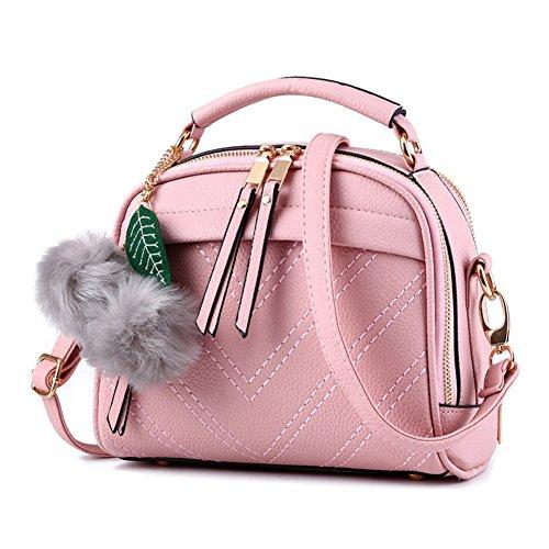Sac à Main Pour Femmes Vintage PU Cuir Élégant Pure Couleur Sacs Bandoulière Épaule/Sacs portés épaule Noir Pink