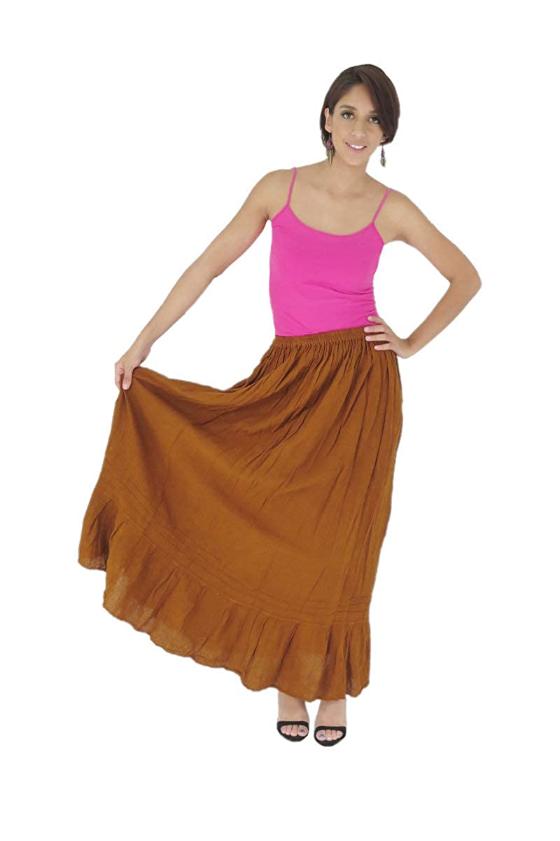 Women's Traditional Amatenango Chiapas Mexican Maxi Brown Skirt - DeluxeAdultCostumes.com