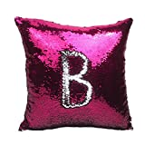 Decorative Pillow Cover - Misshow Mermaid Pillow Case decorative pillow covers Reversible Sequins Rose Pink and Silver Glitter Sofa Cushion Cover Magic Gift