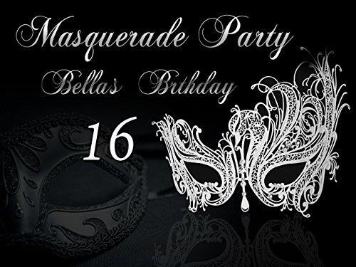 Custom Masquerade Prom Night Party Banner, masquerade mask Banner, Silver Wall Decor Masquerade decor Birthday Banner Party Decoration- sizes 36x24, 48x24, 48x36 Personalised party banner for $<!--$15.99-->