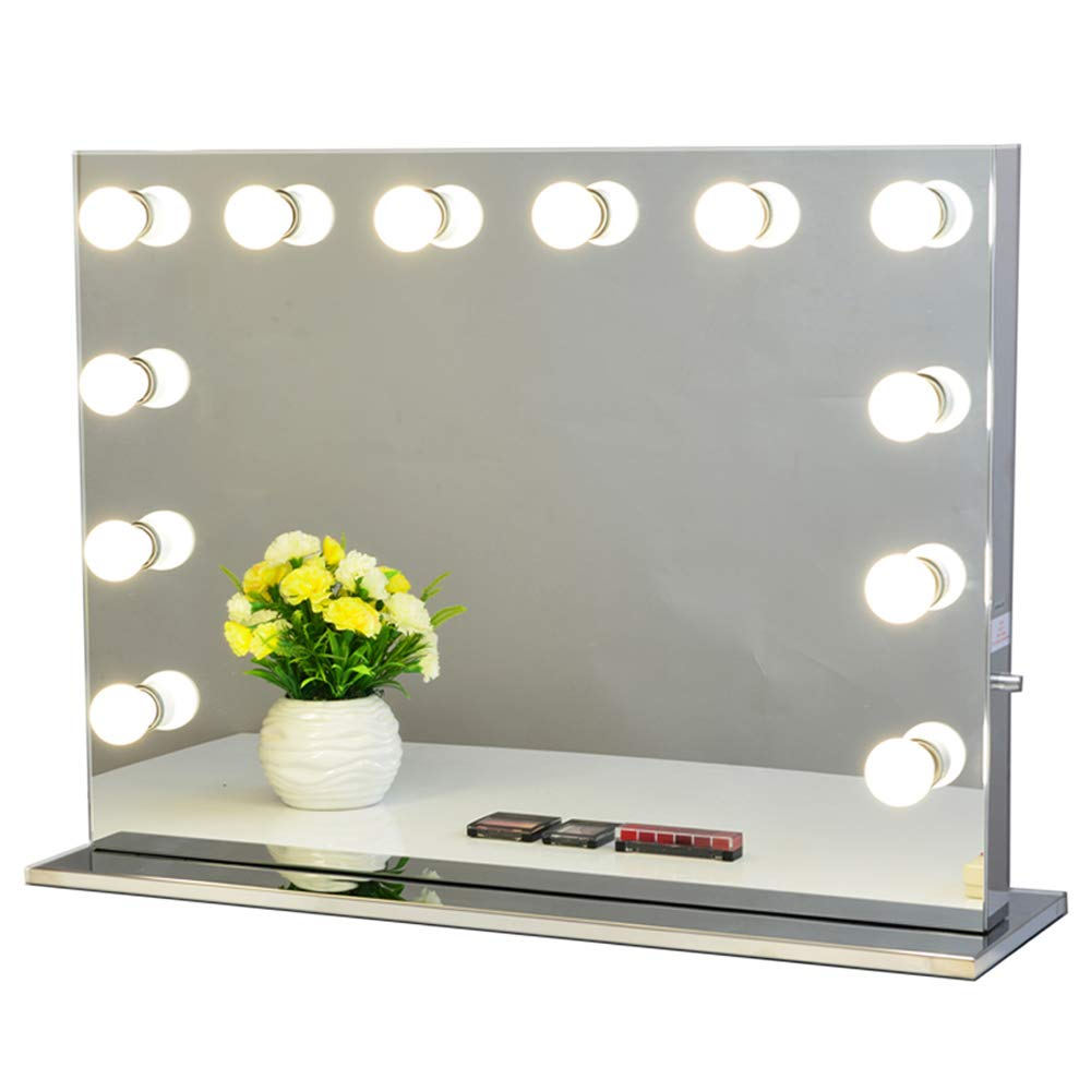 Chende Hollywood Light, Makeup Dressing Table Set Mirrors with Dimmer, Tabletop Vanity LED Bulbs Included (8065, Frameless), 31.5'' x 25.6'',
