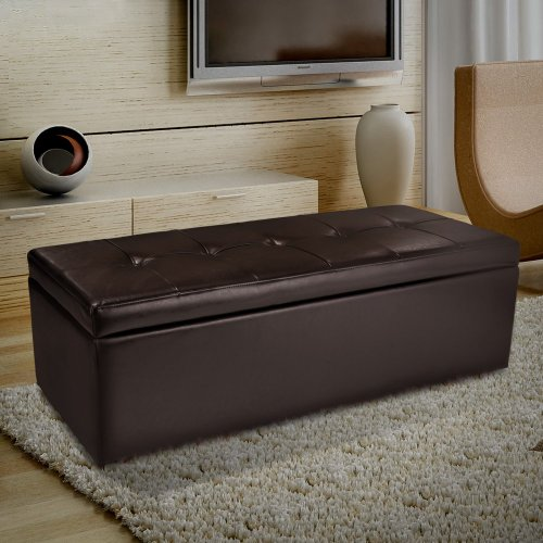 Best Selling Madison Leather Storage Ottoman, Brown