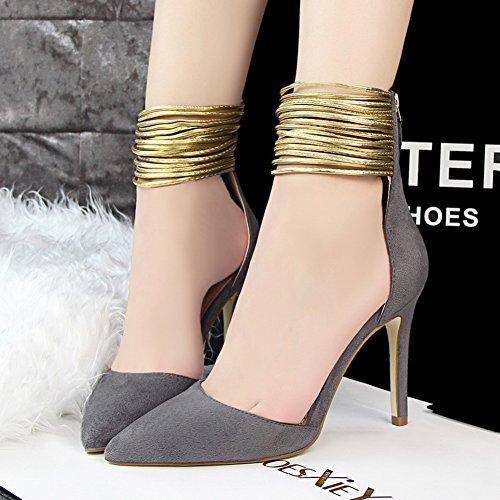 No.66 Town Women's Fashion Suede Ankle Strap D'Orsay Pump Court Shoes Grey Rrlv5Iq
