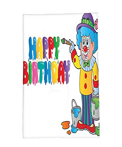 [Interestlee Fleece Throw Blanket Birthday Decorations for Kids Happy Clown for Party with Colorful Paint Drawing Buckets Multicolor] (Mop And Bucket Costume)
