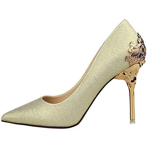 LongFengMa Women Sexy Glitter Sequins Metallic Thin High Heel Shoes Slip on Pumps Gold B2mspf