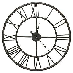 Round Decorative Metal Distressed Iron Roman Numeral Clock Quartz Movement 24 x 24 x 1 Inches...0100