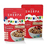 Peak Sherpa Tsampa Cereal, Cherry Almond Cranberry Flavor, Two 8 Ounce Pouches, Ready to Eat, Certified Organic, Sprouted & Roasted Whole Grain Barley Cereal For Sale