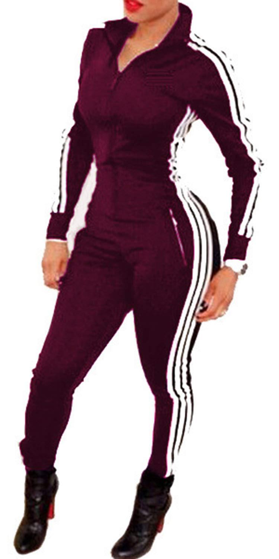 - 51C82ROLjDL - Enggras Women's Striped Zip Up Long Sleeve Sport Workout Bodycon Jumpsuit Romper Zentai Bodysuit