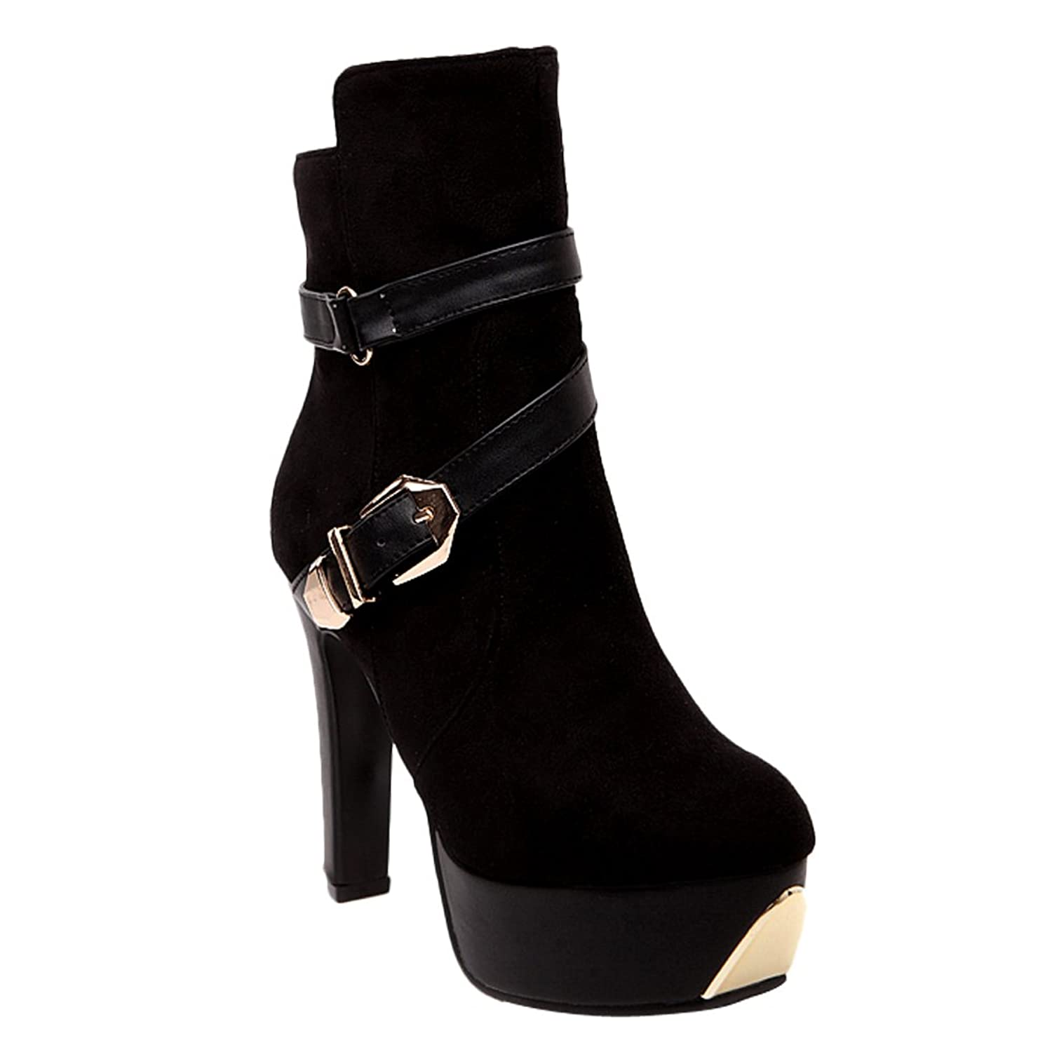 Charm Foot Women's Vintage Strap Buckle Style Platform High Heel Ankle Booties