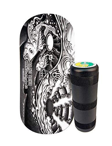 "INDO BOARD Rocker 33"" X 16"" with 6.5"" Roller - High Performance Balance Board for Advanced Tricks - Yin Yang Graphic"