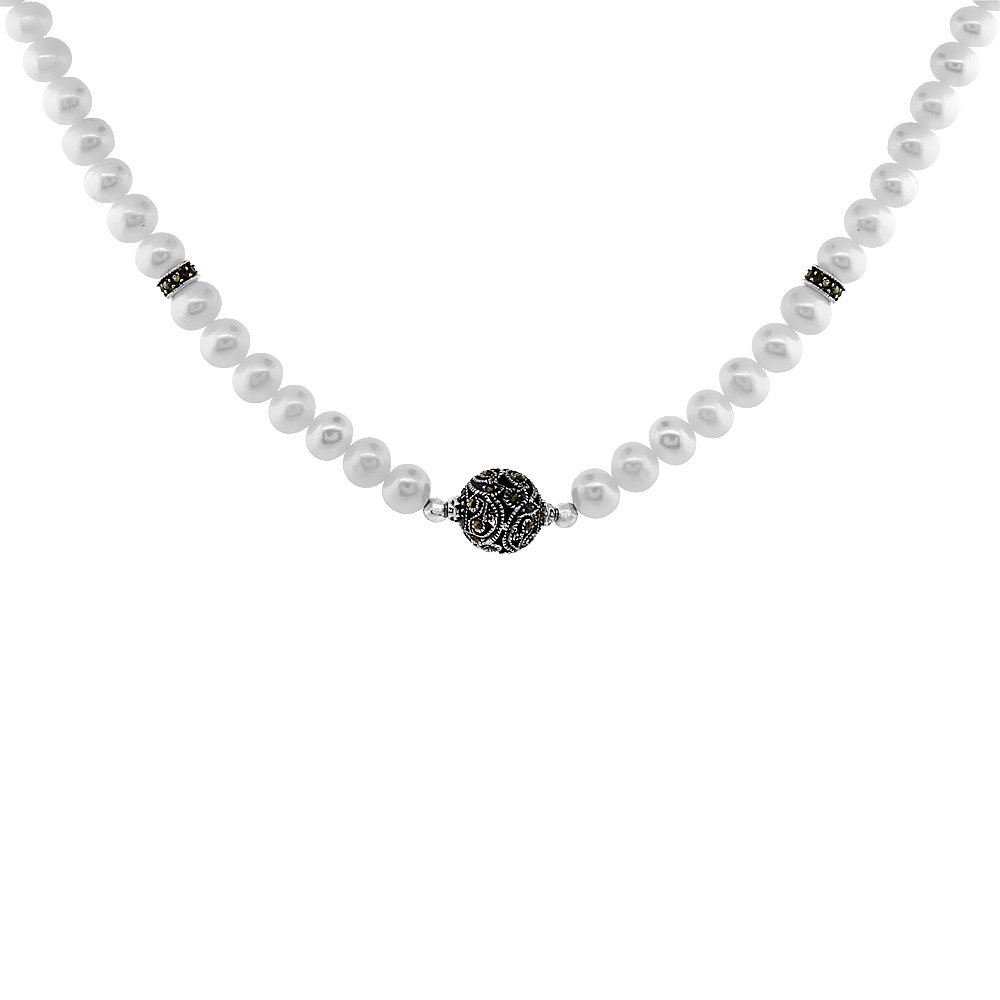 Nylon Necklace Sterling Silver Bead Accents Freshwater Pearls /& Marcasite Stones