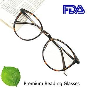 Reading Glasses 2.75 Tortoise Round Eyeglasses Frames for Women, Light Weight Glasses