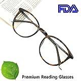 Reading Glasses 4.25 Tortoise Round Eyeglasses Frames for Women, Light Weight Glasses