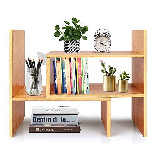 [해외]Desktop Bookshelf Adjustable Wood Display Shelf Countertop Bookcase Office Supplies Desk Organizer Accessories - Natural Bamboo Stand Shelf / Desktop Bookshelf Adjustable Wood Display Shelf Countertop Bookcase Office Supplies Desk ...