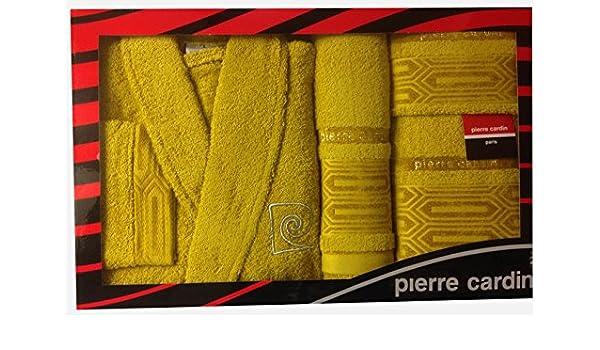 Pierre Cardin L/XL Amarillo Aztec Bloques 4 Piezas Albornoz y Toalla Juego, Jacquard - Dorado 100% algodón Funda Albornoz, Toalla para Invitados, ...