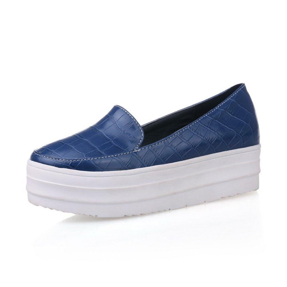 BalaMasa Womens Platform Round-Toe Pull-On Blue Urethane Oxfords-Shoes - 9.5 B(M) US by BalaMasa