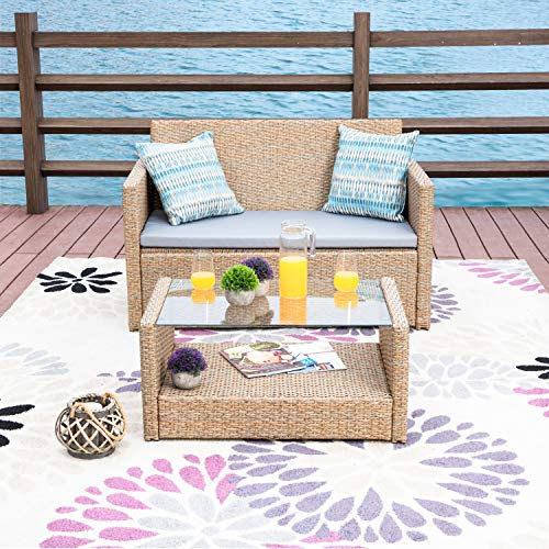 LOKATSE HOME The 2-Piece Outdoor Furniture Set,All-Weather Garden Wicker Coversation Loveseat Sofa with Washable Cushions and Cofee Table(Beige)