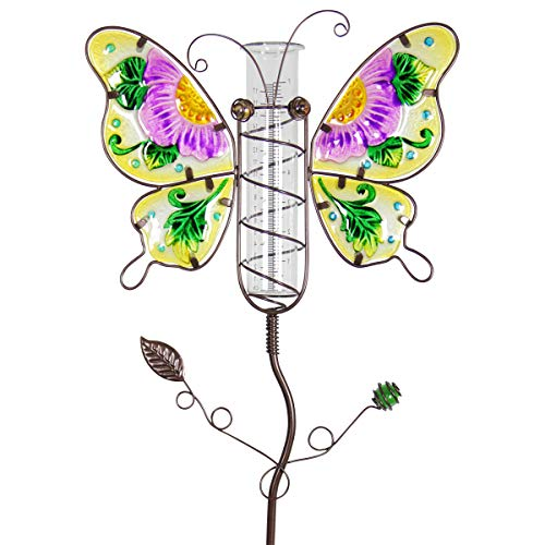 Exhart Purple Butterfly Rain Gauge Garden Stake - Multicolored Butterfly Stake w/Rain Gauge, Made with Fade-Resistant Glass & Metal - Hand-Painted Butterfly Outdoor Decor for Garden, 13 x 35 Inches