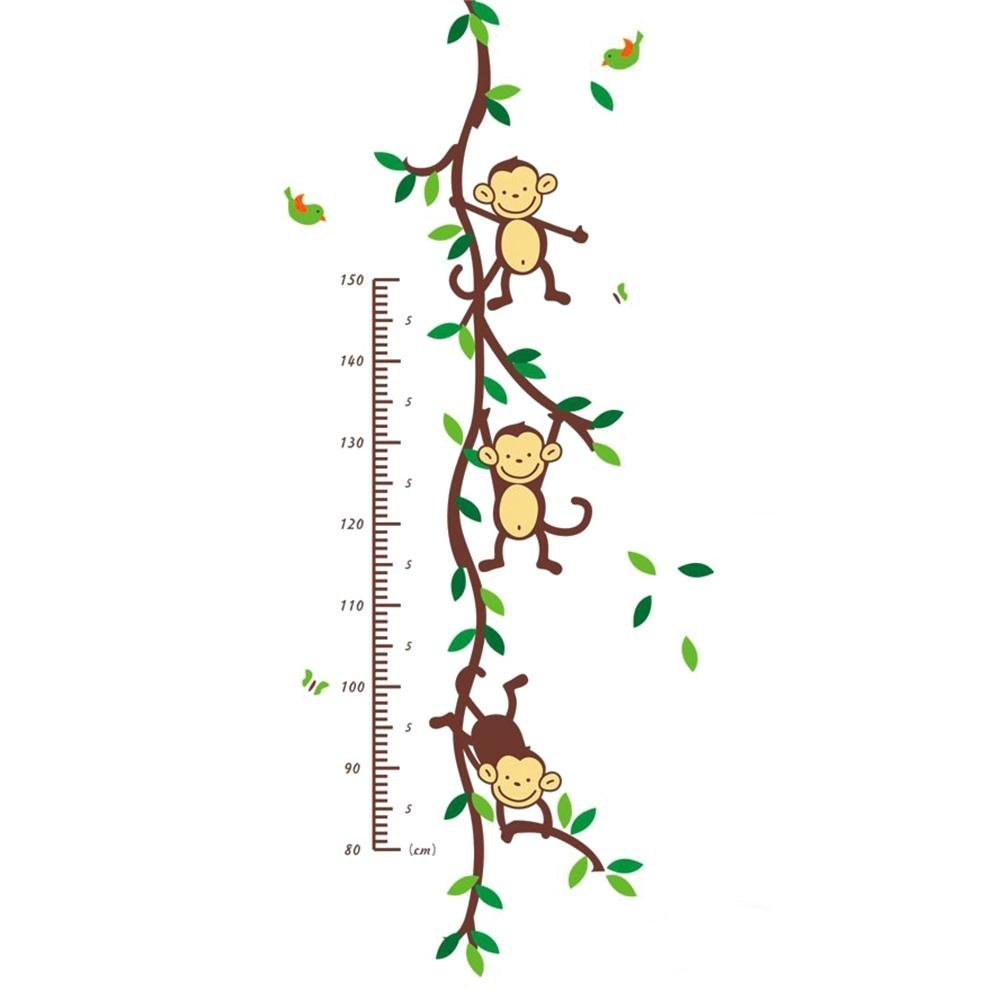 Silly Monkey Forest Height Wall Stickers Monkey Forest Home Vinyl Removable Wall Decal Stickers Kids Height Chart Measure