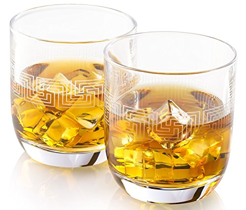 Hand Etched Whiskey Glasses ALISANDER | Made in Europe | Ancient Greek Key Pattern | Set of 2 x 9.5 oz Old Fashioned Glasses | Gift Box.