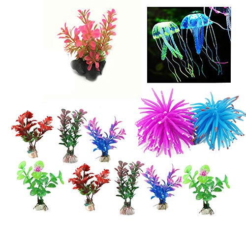 Green Joy 13 Pcs-Aquarium Decorations Decor Coral Jellyfish Ornament Anemones Artificial Aquatic Plants Plastic Plants
