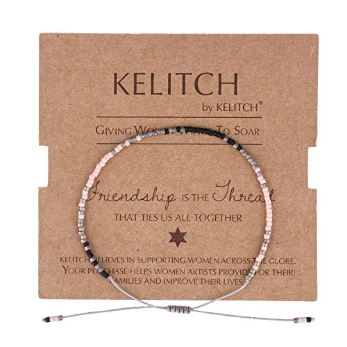 (KELITCH Simple Friendship Bracelet Handmade Adjustable Seed Beaded String Strand Bracelet Fashion Charm Jewelry Girl Women(Pink Black))