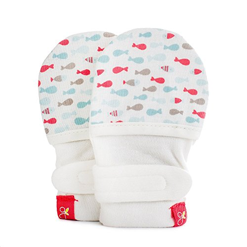 Aqua Mittens (Goumikids - Goumimitts, Scratch Free Baby Mittens, Organic Soft Stay On Unisex Mittens, Stops Scratches and Prevents Germs - (School of Fish - Aqua, 3-6 Months))