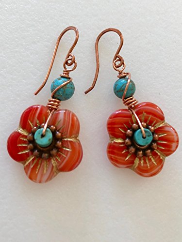 Czech Glass Flower Earrings, Coral And Turquoise Flowers, Turquoise Magnesite, Gold Etched Czech Flowers, Copper Accents, Bohemian Earrings.