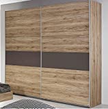 Rauch Almada 175cm Sliding Door Wardrobe in a Sonoma Oak With Lava Grey Detailed Finish. Bed & Bedsides are NOT Included*****LOW INTRODUCTORY PRICE OF £269*****