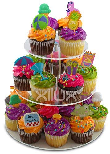 CUPCAKE STAND 3-TIER for Birthday, Wedding, Anniversary and other Occasions to display your small cakes, brownies, tarts, cookies, eclair, macarons, other desserts - Round, Acrylic Dessert Stand]()