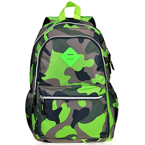 Vbiger Girl's & Boy's Backpack for Middle School Cute Bookbag Outdoor Daypack - Camouflage Green