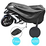 Sportbike Motorcycle Cover-Durable 420D Polyester Fabric, Dust, Rain, Ice, Sun UV Protection, Windproof Ribbon, Fits up to 90.2