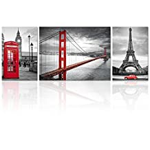 Visual Art Decor Black and White Red Image Wall Decor Prints Living Room San Francisco Golden Gate Bridge Eiffel Tower London Booth Big Ben Picture Framed Canvas Wall Art (Large)