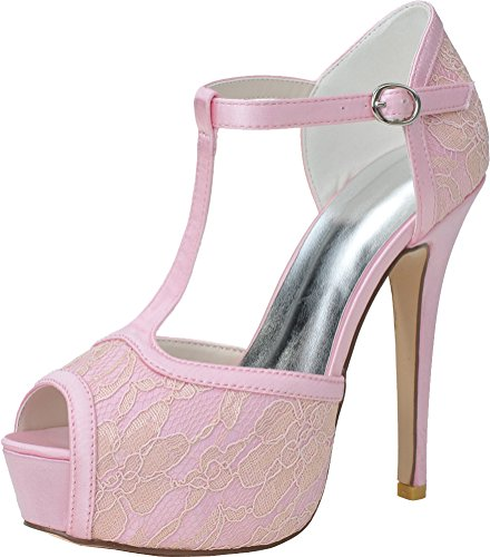 On Jane Wedding Bridesmaid Platform Party Eu 28 Lace Prom 3128 Bride Slip Ladies 37 Mary Dress Pink Sandals Work Comfort Peep Toe qwFaq86g
