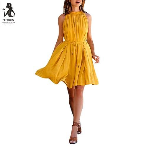7d4fb63cb6 Jushye Women's Sleeveless Dress, Ladies Summer Dress Beach Party Casual  Chiffon Dress at Amazon Women's Clothing store: