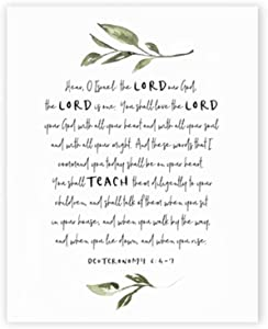 """ZSHMG Wall Art Scripture Verse Deuteronomy 6:4-7 Canvas Poster Bible Verse Quotes Painting Picture for Home Decor-30x40 cm/11.8"""" x 15.7""""Frameless"""