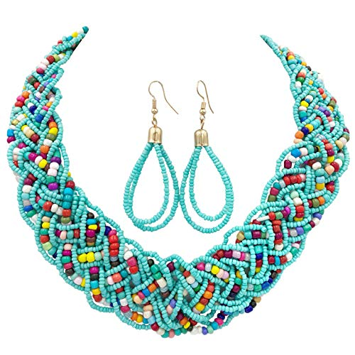 Gypsy Jewels Wide Braided Seed Bead Multi Strand Statement Necklace & Earrings Set (Aqua Blue Multi -