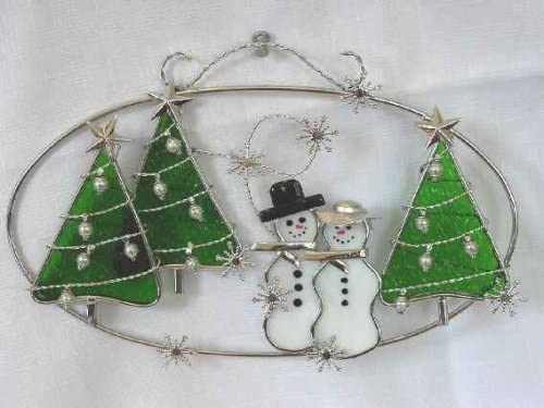 Stained Glass Snowman Winter Oval