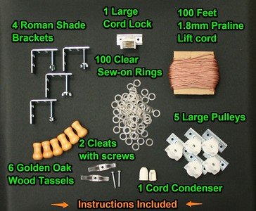 All-in-One LARGE ROMAN SHADE HARDWARE KIT, in Golden Brown (cord lock, pulleys, cord, brackets, cleats, rings, cord condenser)