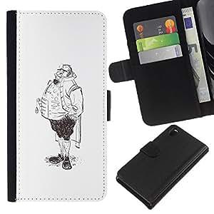 Be-Star la tarjeta de Crédito Slots PU Funda de cuero Monedero caso cubierta de piel Para Sony Xperia Z3 D6603 ( Aristocrat Legs Man Sketch Pencil Drawing Art )