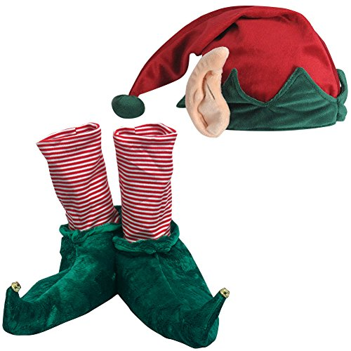 Movie Quality Buddy The Elf Costume ((Set) Festive Christmas Holiday Elf Slippers And Hat w/ Built In Ears - MD)