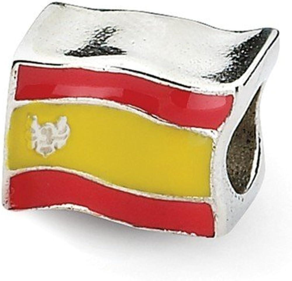 Hermosa plata de ley 925, plata de ley 925, reflectantes, esmaltado, bandera de España con cuentas viene con un regalo de joyería gratis: Amazon.es: Joyería