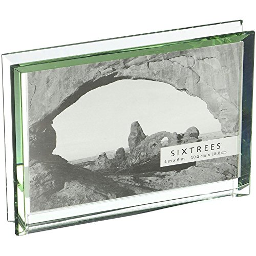 The EMERALD Bevelled Glass Block frame 'floats' your 6x4 photo - (Bevelled Photo Frame)